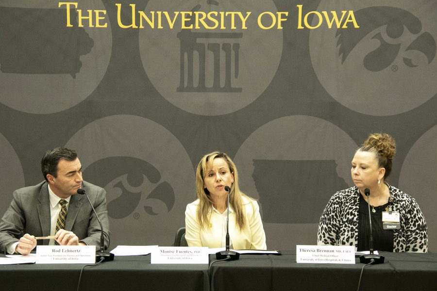 UI administrators field questions from reporters during a press conference regarding the COVID-19 pandemic at the IMU on Wednesday, March 11, 2020.