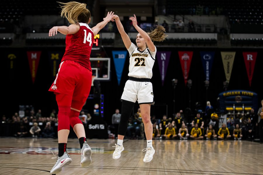 Iowa+guard+Kathleen+Doyle+shoots+the+ball+during+the+Iowa+vs.+Ohio+State+Women%27s+Big+Ten+Tournament+game+at+Bankers+Life+Fieldhouse+in+Indianapolis+on+Friday%2C+March+6%2C+2020.+The+Buckeyes+defeated+the+Hawkeyes+87-66.