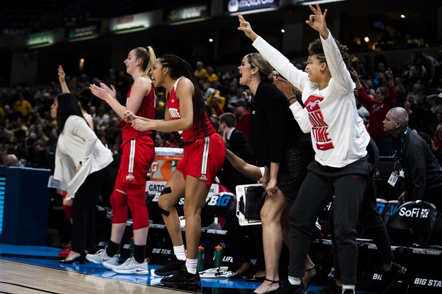Ohio State players cheer during the Iowa vs. Ohio State Women's Big Ten Tournament game at Bankers Life Fieldhouse in Indianapolis on Friday, March 6, 2020. The Buckeyes defeated the Hawkeyes, 87-66.