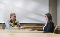 University of Iowa President Bruce Harreld talks with members of the Daily Iowan during an interview at the Adler Journalism Building on Thursday, Feb. 13, 2019. President Harreld has been the president at the university since November 2, 2015.