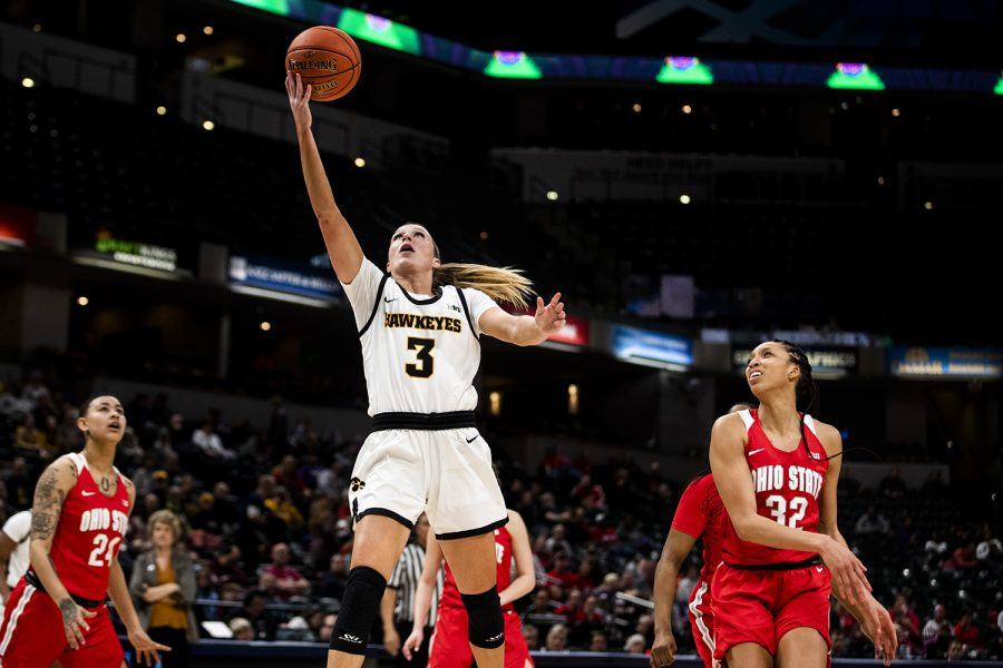 Iowa guard Makenzie Meyer shoots the ball during the Iowa vs. Ohio State Women's Big Ten Tournament game at Bankers Life Fieldhouse in Indianapolis on Friday, March 6, 2020. The Buckeyes defeated the Hawkeyes 87-66.