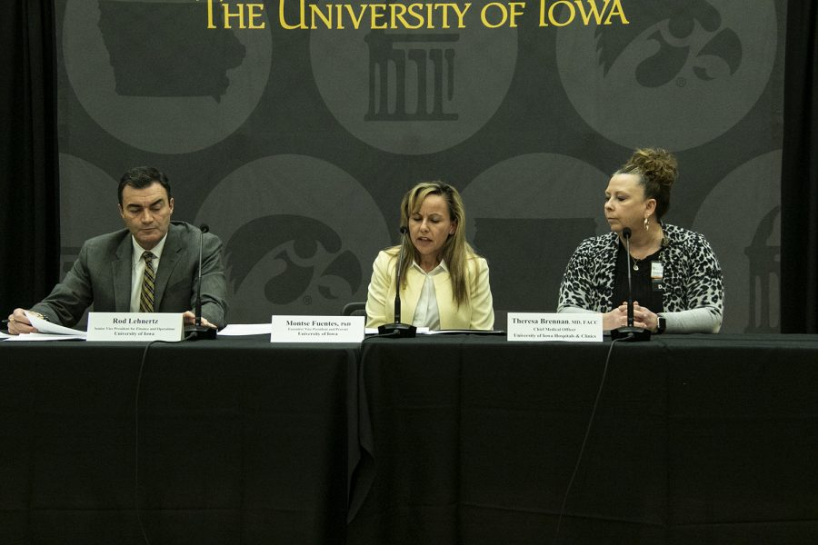 A+panel+of+University+of+Iowa+administrators+field+questions+from+reporters+during+a+press+conference+about+the+UI%27s+COVID-19+response+at+the+IMU+on+Wednesday%2C+March+11%2C+2020.++%28Jeff+Sigmund%2F+The+Daily+Iowan%29
