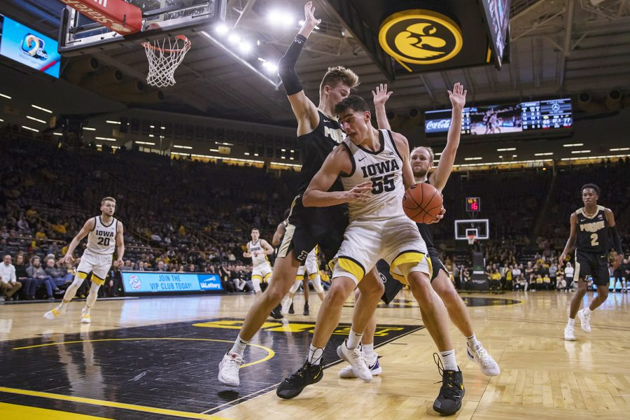 Iowa+center+Luka+Garza+shields+the+ball+during+a+men%27s+basketball+game+between+Iowa+and+Purdue+at+Carver+Hawkeye+Arena+on+Tuesday%2C+March+3%2C+2020.+The+Hawkeyes+were+defeated+by+the+Boilermakers%2C+77-68.+