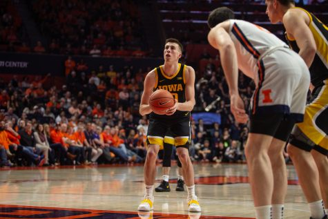 Iowa guard Joe Wieskamp prepares to make a free throw during a game on Sunday, March 8, 2020 at the State Farm Center in Champaign, Ill. The Hawkeyes lost to the Fighting Illini, 76-78.