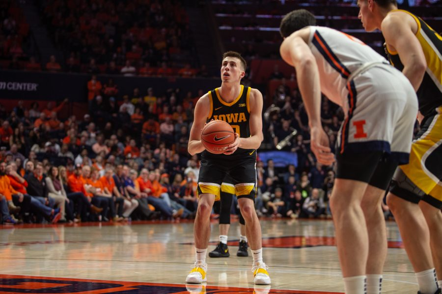 Iowa+guard+Joe+Wieskamp+prepares+to+make+a+free+throw+during+a+game+on+Sunday%2C+March+8%2C+2020+at+the+State+Farm+Center+in+Champaign%2C+Ill.+The+Hawkeyes+lost+to+the+Fighting+Illini%2C+76-78.+