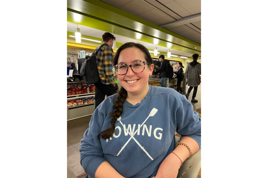 Burge resident Emily Hartman poses for a portrait on Wednesday, March 11, 2020 in the UI Main Library.