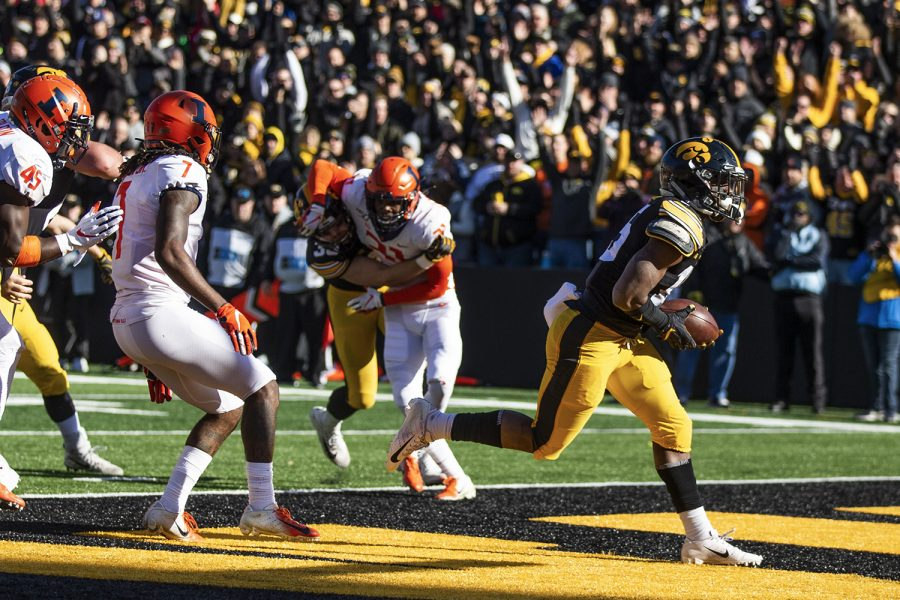 Iowa running back Tyler Goodson scores the first touchdown of the game against Illinois on Saturday, November 23, 2019. The Hawkeyes defeated the Fighting Illini 19-10. Goodson rushed a total of 38 yards.