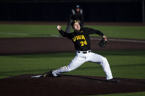 Iowa right handed pitcher Hunter Lee pitches during a baseball game between Iowa and Grand View at Duane Banks Field on March 3, 2020. The Hawkeyes defeated the Vikings 15-2.