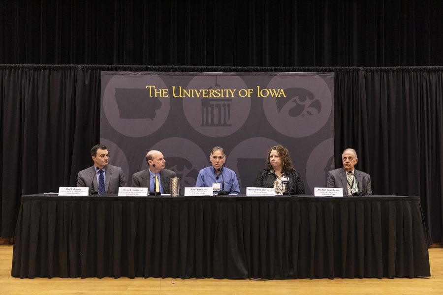 University of Iowa officials speak during a media availability event at the IMU on March 4, 2020. The university officials spoke to reporters about the UI's actions regarding coronavirus.