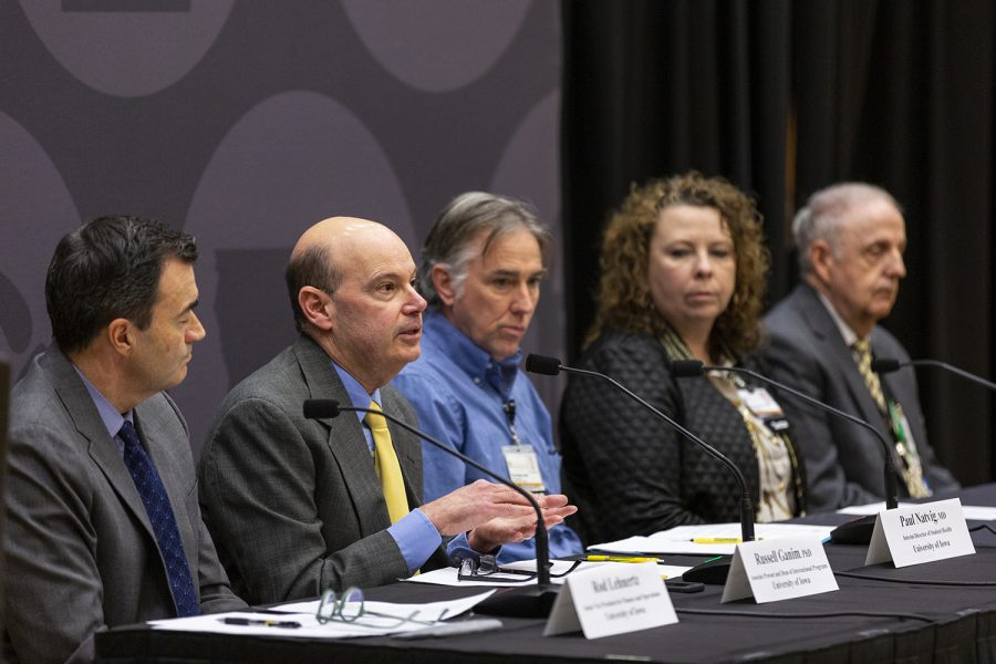 Associate Provost and Dean of International Programs Russ Ganim speaks during a media availability event at the IMU on March 4, 2020. The University of Iowa officials spoke to reporters about the UI's actions regarding coronavirus. (Ryan Adams/The Daily Iowan)