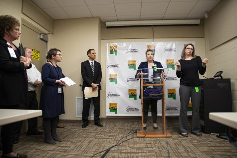 UIHC Chief Medical Officer Theresa Brennan speaks during a press conference on Tuesday at the Joint Emergency Communications Center.