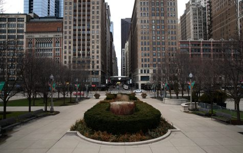 This empty plaza in Millennium Park sits adjacent to the sparsely populated intersection of Madison Street and Michigan Avenue.