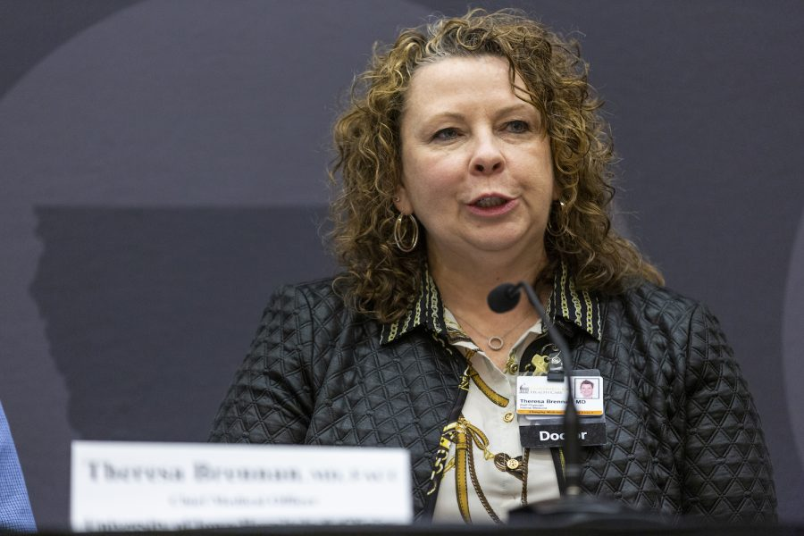UIHC Chief Medical Officer Theresa Brennan speaks during a media availability event at the IMU on March 4, 2020. The University of Iowa officials spoke to reporters about the UI's actions regarding coronavirus.