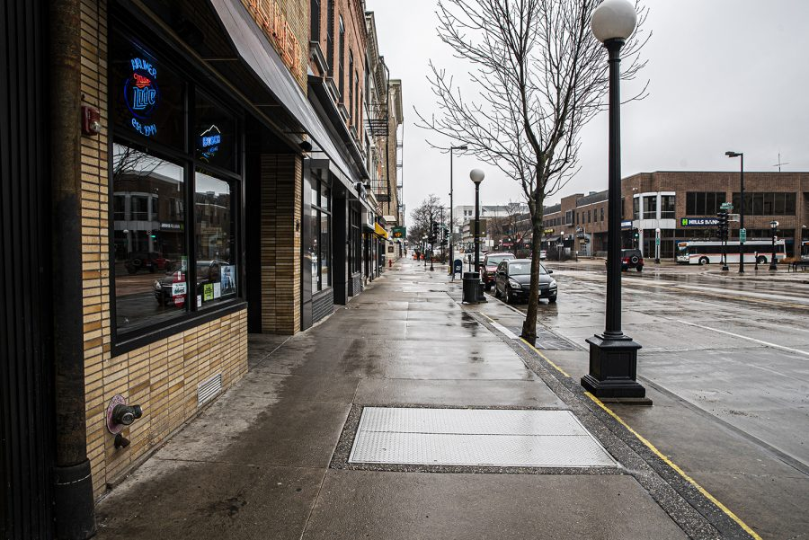 South Clinton St. is seen empty on Wednesday, March 18th, 2020. The spread of coronavirus in Johnson county has been named a public health emergency.(Tate Hildyard/The Daily Iowan.)