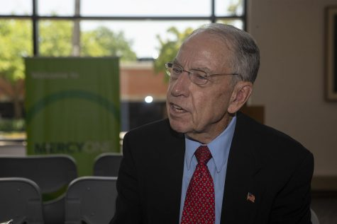 U.S Senator Chuck Grassley, R-Iowa, speaks with the Daily Iowan staff after a visit to Mercy Hospital on July 2, 2019.