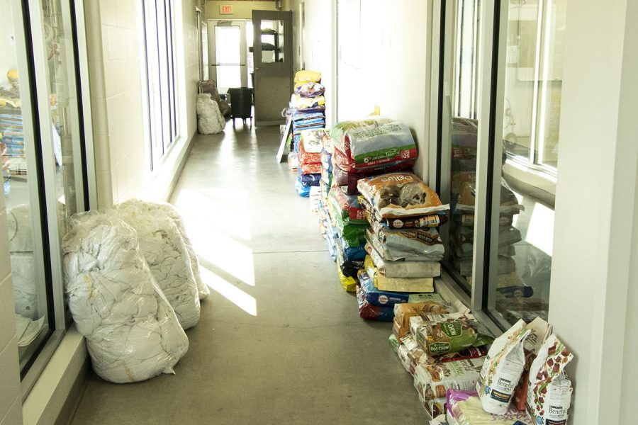 Food+and+supplies+donated+by+the+public+line+the+halls+on+Tuesday%2C+March+31+at+the+Iowa+City+Animal+Care+and+Adoption+Center.+