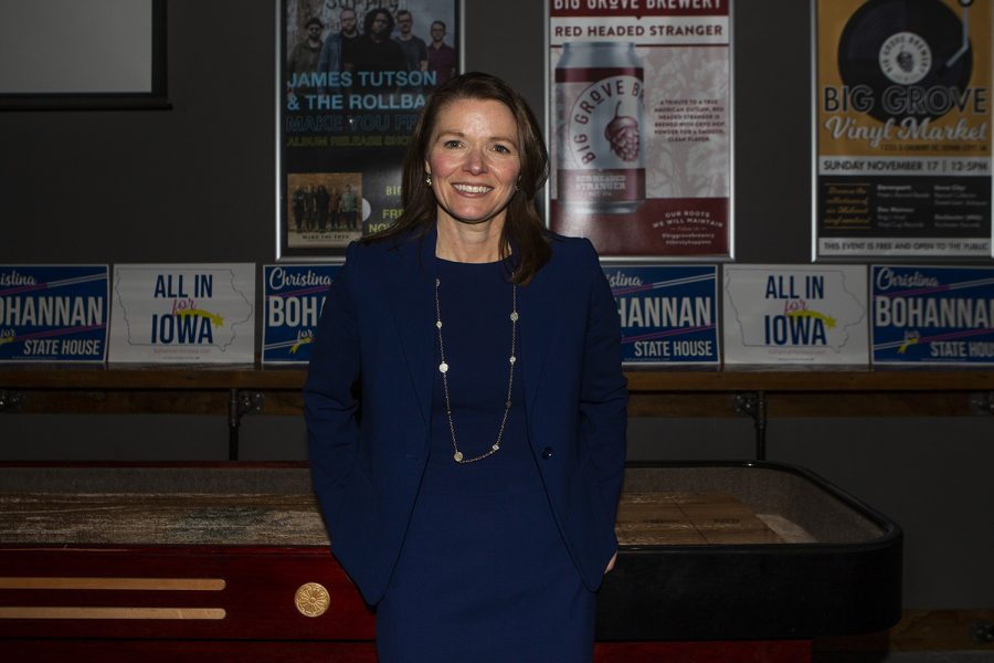 Iowa House candidate Christina Bohannon poses for a portrait during the kickoff event for her Iowa House bid at Big Grove on Wednesday, November 13, 2019. Bohannon advocates for combating climate change, voices for education, and addressing gun violence.