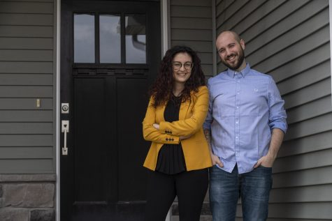 Caterina Lamuta (left) and Venanzio Cichella (right) pose for a portrait in front of their home on Saturday, April 25, 2020. Both mechanical engineering professors at the University of Iowa, the couple is a part of the team working to create a new robotic rehabilitation device.