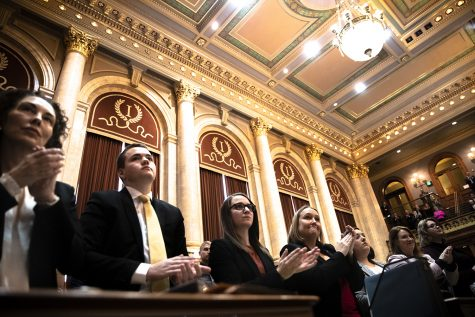House members applaud at the Iowa State Capitol on Monday, January 13, 2020. The House convened and leaders in the Iowa House of Representatives gave opening remarks to preview their priorities for the 2020 session.