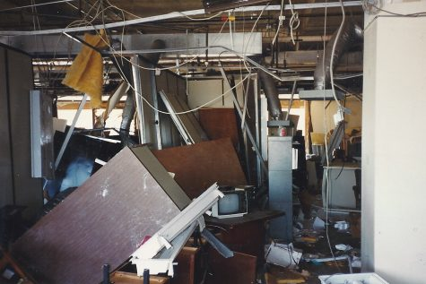 The remnants of an office inside the Alfred P. Murrah Federal Building cover a section from floor to ceiling in the weeks following a bombing. The building was nine floors in height and housed several government agencies along with a day care center on the second floor.