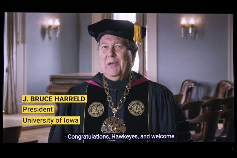 University of Iowa President Bruce Harreld speaks during virtual commencement on Saturday, May 16, 2020. Due to concerns surrounding the COVID-19, the University of Iowa moved commencement online in March.
