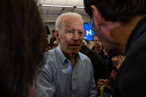 Former Vice President Joe Biden speaks with audience members following a campaign event in North Liberty on Saturday, February 1, 2020. With the Iowa Caucuses happening in two days, former Vice President Biden stopped to give a last minute pitch to Iowa voters. (Wyatt Dlouhy/The Daily Iowan)
