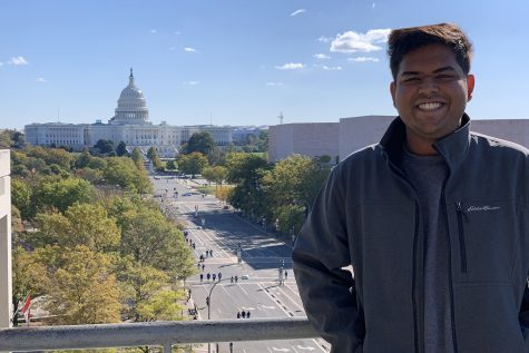 Aadit Tambe poses for a photograph on the rooftop terrace of the Newseum during the National College Media Convention in Washington on Nov. 3, 2019. The DI website was recognized as an Associated Collegiate Press Online Pacemaker Finalist.