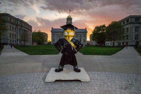 "A Herky statue with a ""PHIL Was Here"" sash stands on the Pentacrest on Monday, April 24. Beginning in 2012, the UI launched PHIL Was Here to celebrate philanthropy at the university."