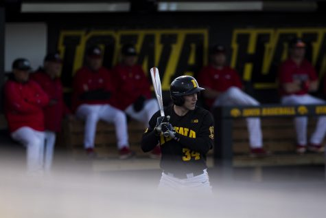Iowa catcher Austin Martin watches the pitch during a baseball game between Iowa and Grand View at Duane Banks Field on March 3, 2020. The Hawkeyes defeated the Vikings 15-2.