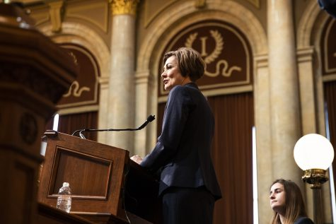 Gov. Kim Reynolds speaks during the Condition of the State address at the Iowa State Capitol on Tuesday, January 14, 2020. Gov. Kim Reynolds discussed initiatives such as tax cuts, mental health funding, and workforce training.