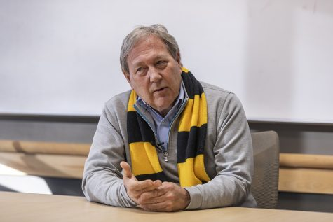 University of Iowa President Bruce Harreld talks with members of the Daily Iowan during an interview at the Adler Journalism Building on Thursday, Feb. 13, 2020. President Harreld has been the president at the university since November 2, 2015.