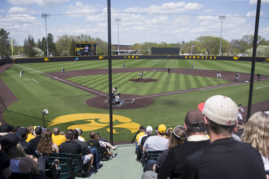 Fans+watch+the+action+during+a+baseball+game+between+Iowa+and+UC+Irvine+at+Duane+Banks+Field+on+Sunday%2C+May+5%2C+2019.+The+Hawkeyes+lost+to+the++Anteaters%2C+15-4.+