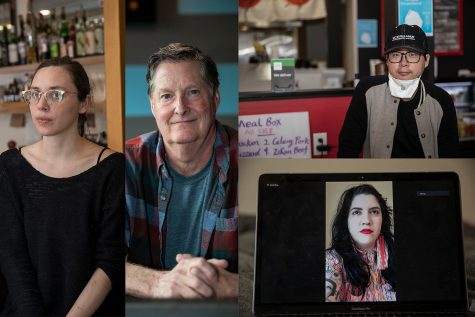 In this diptych, Co-owner of Dandy Lion Lindsay Chastain (far left), Owner of D.P Dough Jon Sewell (center), Owner of JiangHu Asian Street Food Yi Zheng (top right) and Owner of Honeybee Hair Parlor JoAnn Larpenter-Sinclair (bottom right) pose for portraits.