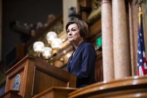 Gov. Kim Reynolds speaks during the Condition of the State address at the Iowa State Capitol on Tuesday, January 14, 2020.