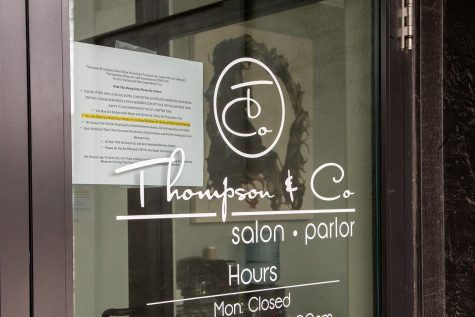 Thompson & Co Salon and Parlor is seen on Tuesday, March 24, 2020.
