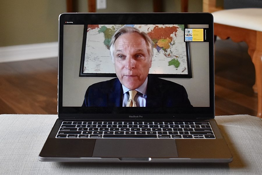 Wm. Gerard Sanders Dean College of the College of Business Administration and Bodenstedt Chair at the University of Texas at San Antonio, speaks during a Zoom meeting on Monday May 4, 2020.