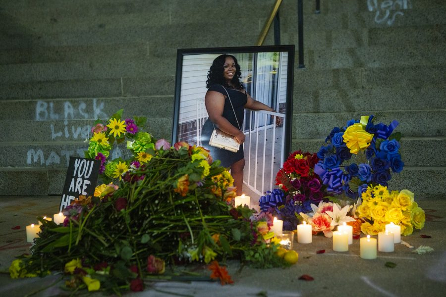 A memorial for Breonna Taylor is seen on Friday, June 5, 2020 on the Old Capitol steps. After marching to I-80, protesters returned to the Pentacrest to honor Taylor, who was killed by police in her home on March 13.