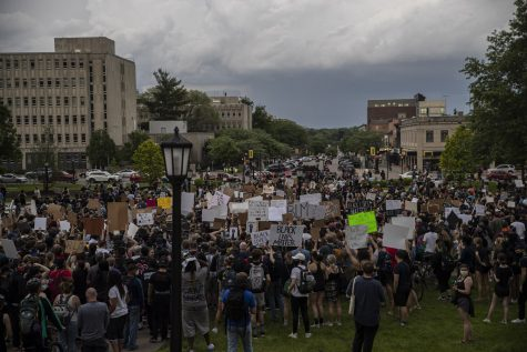 A march to support the Black Lives Matter movement and protest police brutality begins at the Pentacrest in downtown Iowa City on Thursday, June 4. The crowd, which contained about 2,500 people according to organizers, is seen here beginning the march by exiting the east side of the Pentacrest before they would head south on Clinton St.