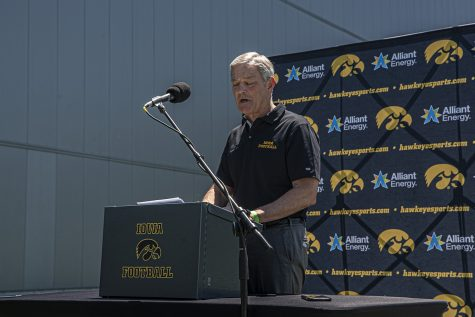 Iowa Hawkeyes coach Kirk Ferentz speaks at a press conference at the Kenyon Football Practice Field on Friday, June 12th, 2020. Ferentz and along with players Ivory Kelly-Martin, Kaevon Merriweather, and Keith Duncan spoke to the press about political standings and solidarity in the current state of civil unrest. (Tate Hildyard/ The Daily Iowan)