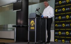 Iowa Athletic Director Gary Barta speaks at a press conference on Monday, June 15 at Carver-Hawkeye Arena. Barta addressed recent action within the Iowa Athletic Department, including the separation agreement with Chris Doyle, as well as plans for the future.