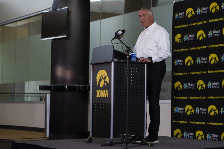 Iowa+Athletic+Director+Gary+Barta+speaks+at+a+press+conference+on+Monday%2C+June+15+at+Carver-Hawkeye+Arena.+Barta+addressed+recent+action+within+the+Iowa+Athletic+Department%2C+including+the+separation+agreement+with+Chris+Doyle%2C+as+well+as+plans+for+the+future.