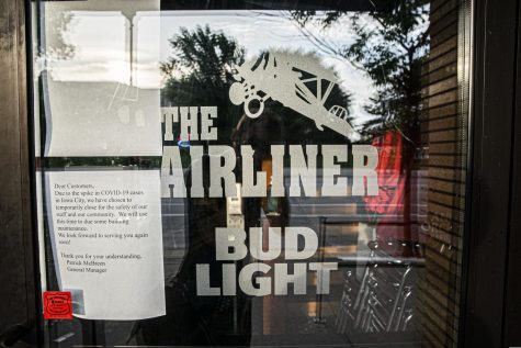 The Airliner in downtown Iowa City is seen on June 29. Local business briefly reopened after a temporary shutdown resulting from the spread of the coronavirus, but the resurgence in cases is causing another wave of shutdowns.