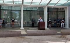 Johnson County Public Health Director Dave Koch speaks at a press conference in front of the Graduate Hotel on June 25.