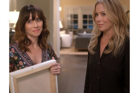 "Linda Cardellini, left, and Christina Applegate in ""Dead to Me."""