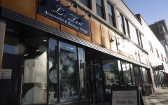 The entrance to a bubble tea shop called La Tea is seen on June 25 in Iowa City.