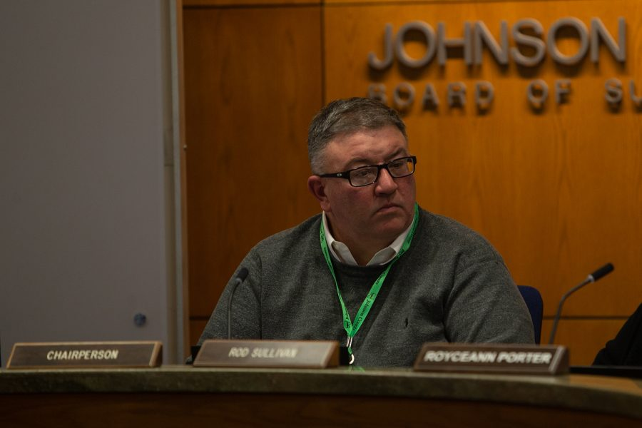 Johnson County Supervisor Chairperson Rod Sullivan listens to a presentation during a meeting on Thursday, Feb. 12, 2020.