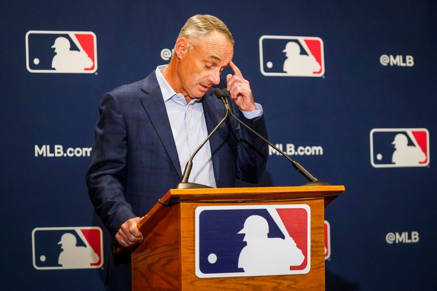 Major+League+Baseball+commissioner+Rob+Manfred+addresses+reporters+during+MLB+Media+Day+activities+on+Tuesday%2C+Feb.+18%2C+2020%2C+in+Scottsdale%2C+Ariz.