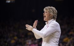 Iowa Head Coach Lisa Bluder instructs her team on what to do during a women's basketball between Iowa and Wisconsin at Carver-Hawkeye Arena on Sunday, Feb. 16, 2020. The Hawkeyes defeated the Badgers 97-71.