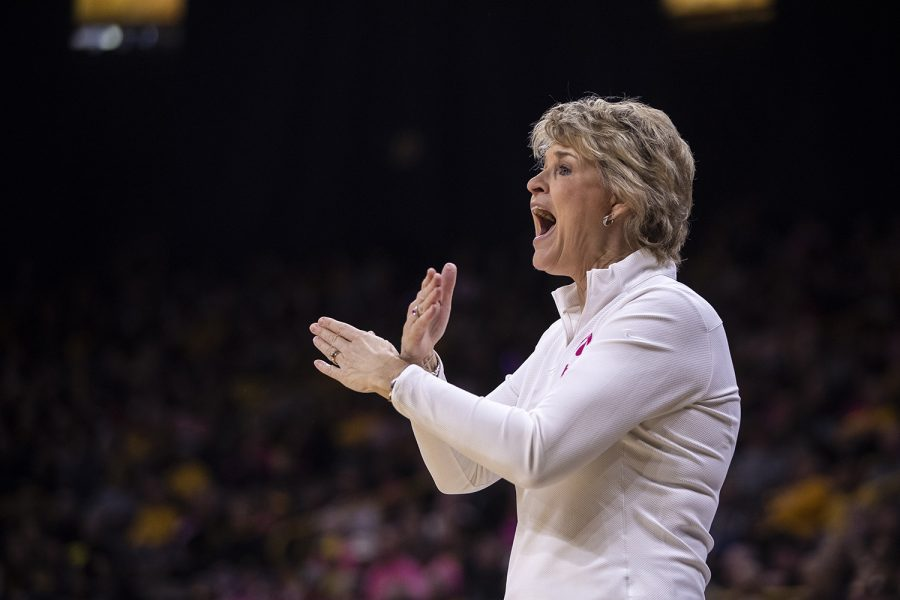 Iowa+Head+Coach+Lisa+Bluder+instructs+her+team+on+what+to+do+during+a+women%E2%80%99s+basketball+between+Iowa+and+Wisconsin+at+Carver-Hawkeye+Arena+on+Sunday%2C+Feb.+16%2C+2020.+The+Hawkeyes+defeated+the+Badgers+97-71.