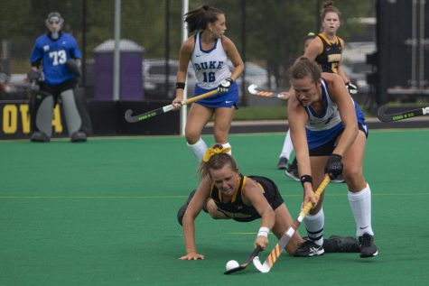 Iowa forward Maddy Murphy steals the ball during a field hockey game between Iowa and Duke at Grant Field on Sunday, September 15, 2019. The Hawkeyes were defeated by the Blue Devils, 2-1 after two overtime periods.